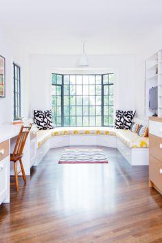 Tour a Bright, Fresh LA Family Home // banquette, Marimekko, yellow fabric