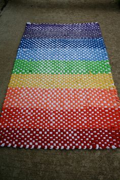 Hand woven recycled t shirt rag rug Rainbow fun by TheSomedayHouse, $65.00