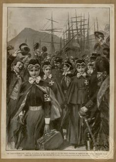 The Greco- Turkish war: Arrival at Patras of the nurses sent out to the crown princess. The Illustrated London News, May of Greece by the ''Daily Chronicle' fund under the patronage of the princess of Wales History Of Nursing, Patras, Turkish People, Male Nurse, Athens Greece, Greeks, Princess Of Wales, The Crown, Military History