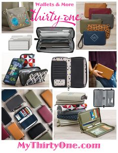#31 WALLETS - All About The Benjamins Wallet, Perfect Cents Wallet, Save Your Way Clutch, Rubie Mini and more… Some of these items come in the new Fall 2018 prints including… Black Beauty, Carmel, Deep Merlot, Midnight Navy, City Charcoal Pebble as well as Hostess Exclusives in Lovely Leopard, Deco Diamond, Falling Feathers, Ooh-La_la Olive & Deep Merlot Pebble with Floral Embroidery. See this & more at MyThirtyOne.com/PiaDavis. Also look for… Purses, Totes, Bags, Thermals, Caddies, Cases...