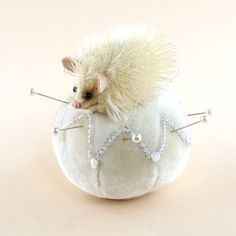 OOAK 2016 Janie Comito ~ Snowy Hedgehog Ornamental Wintertime Pin Cushion