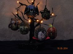 Halloween Sequined Ornaments with Lighted by NanaJansXmasCrafts