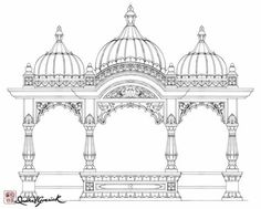 Marvelous Home Design Architectural Drawing Ideas. Spectacular Home Design Architectural Drawing Ideas. Indian Temple Architecture, India Architecture, Architecture Drawings, Computer Architecture, Mandir Design, Pooja Room Design, Temple Drawing, Temple Design For Home, Hot Girls