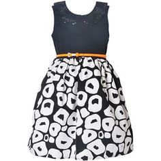 Pinky Black and White Pattern Dress - Girls 4-6x - jcpenney