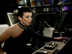 """Jacqueline Pearce as Supreme Commander Servalan in """"Blakes 7"""".....a brilliant idea, making the ruthless dictator a fashionable, attractive and even charming woman."""