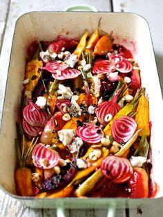 Ofengemüse mit Pfirsich und Frischkäse #ziiikocht