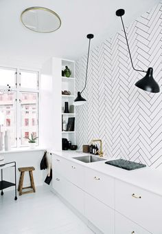 White kitchen with black details