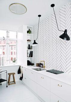 White kitchen with black details