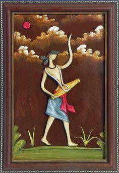 Vaishnav Drummer - Wall Hanging (Poly Resin on Hardboard))