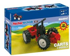 Fischertechnik Carts by Fischertechnik. $16.99. 75 components. made in Germany. high-quality product. 3 models builds. Construction kit for  pocket money. From the Manufacturer                Center pivot steering, monster quad, and go-cart the fitting set of wheels for every terrain