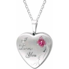 """Sterling Silver Heart-Shaped """"I Love You"""" with Rose Locket"""