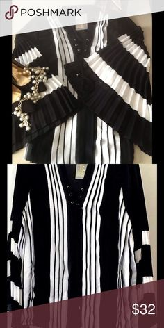 NWT💙Simply stunning black and white blouse💙 NWT💙Simply stunning Dor Dor Couture black and white Chiffon blouse💙pleated front 💙fabulous sheer pleated sleeves💙and lace up neck line💙 Dor Dor Couture Tops Blouses