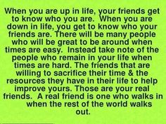 Know who your friends are!  Sadly, that excludes just about everyone I know...