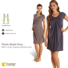 MEV - Mothers en Vogue - The Pleats-Made-Easy Dress is a stylish piece from the X.tended collection designed with a lightly pleated overlay of fabric that falls from the neckline for a striking yet relaxed look.  Looser through the body and forgiving to post-partum tummies, the Pleats-Made-Easy Dress has a relaxed yet shapely fit, that is feminine and effortlessly chic. #mothersenvogue #nursing #maternity #fashion #style #MEV #dress