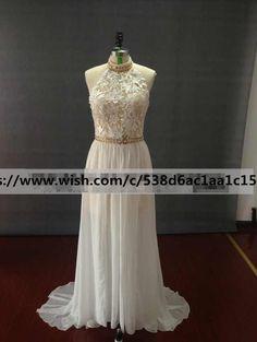 Long Lace Halter Two piece Ivory Prom Dress Custom Evening Dress