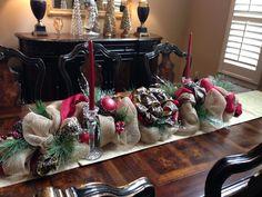 Leopard and Burlap Christmas Centerpiece
