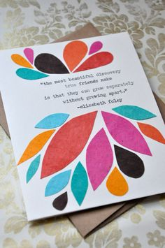 Birthday Card - Handmade Greeting Card - Friendship Quote Abstract Leaves - Friendship Card