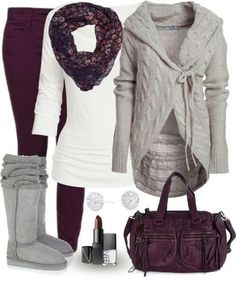 Fall Outfit - Great Colors-Love the cable knit sweater and colored jeans