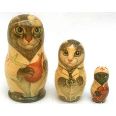 """Medical Trio"" Russian Nesting Cats"