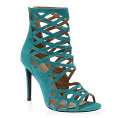 Just take a look at our teal blue Leighton heels! Featuring a caged design and open toe, these shoes are totally perfect for nights out. Yours will go flawlessly with a summery playsuit. Heel Height: 4\