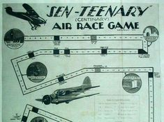 The Sen-Teenary Air Race Game 1936 Vintage Games, How To Introduce Yourself, Inventions, Board Games, Tabletop Games, Table Games