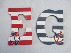Nautical Wooden Initial with Anchor Detail Painted Initials, Wooden Initials, Wooden Letters, Nautical Theme Bedrooms, Nautical Bathrooms, Rustic Bedrooms, Log Home Interiors, Kids Corner, Letter Art