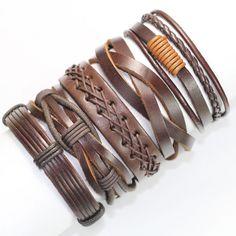 5PCS Vintage brown handmade genuine real leather men bracelet for women 2017 bracelets bangles pulseira masculina erkek bileklik