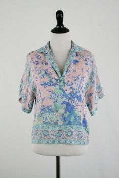 1980s Blue Bird Silk Blouse Neiman Marcus UMI Collections by Anne Crimmins by YaYaRetro on Etsy