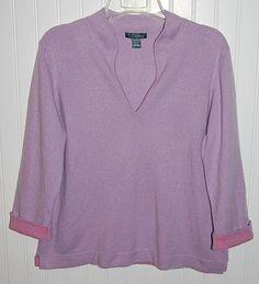 Ann Taylor Women's XL Cashmere Long Sleeve V Neck Sweater Blue ...