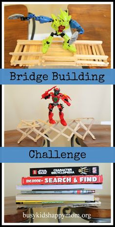 Stuck inside for winter? Too hot? Too rainy? Just need a new creative project? It's time for a challenge!Challenge: Construct a bridge that spans at least 12 inches and hold one action figure (or whatever toy you have in your home).Supplies: 1.glue guns (craft glue would work as well, we wanted fast drying)2. 40-50 craft …