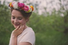 This bride wore a simple and chic bridal skirt/blouse combo (the blouse was made in part from silk her grandfather brought back from WWII!), and a gorgeous DIY floral crown Flower Girl Crown, Floral Crown, Flower Girls, Bridal Looks, Bridal Style, Wedding Flower Inspiration, Wedding Ideas, Wedding Stuff, Bridal Skirts