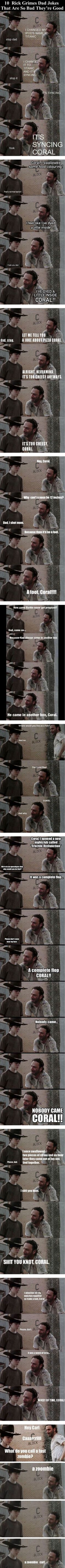 10 Rick Grimes Dad Jokes That Are So Bad They're Good funny memes jokes story meme lol funny quote funny quotes funny sayings joke humor the walking dead ricks dad jokes