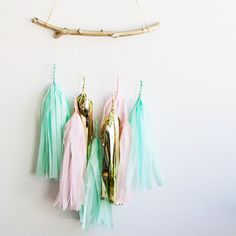 Project Nursery - Twig Tissue Tassel Mobile from The Project Nursery Shop