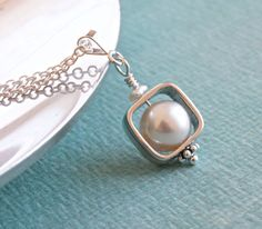 Ivory Freshwater Pearl Pendant Silver Chain by ThePassionatePearl, $45.00