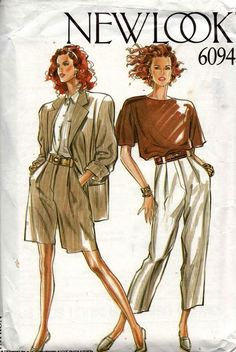 New look 6094 womens jacket shorts & pants vintage sewing pattern sizes 8 - 18 uncut factory folded Vintage Fashion 90s, Vintage Outfits, Vintage Fashion Sketches, Fashion History, Fashion Art, Fashion Quotes, 80s Fashion, Trendy Fashion, Fashion Outfits