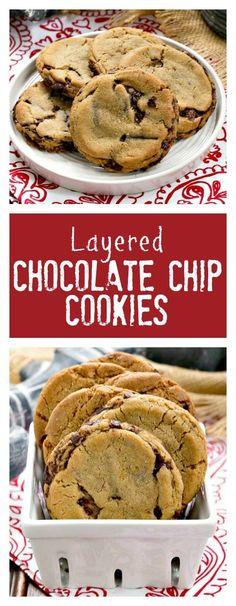 Layered Chocolate Chip Cookies | Dark Brown sugar and layers of bittersweet…