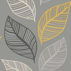 This Crown Emporium Elba Leaf Wallpaper has a large leaf motif in yellow, grey and white, with embossed detailing and glitter highlights on a matte grey background Mustard And Grey Wallpaper, Charcoal Wallpaper, Gray Wallpaper, Metallic Wallpaper, Paper Wallpaper, Trendy Wallpaper, Room Wallpaper, Yellow Gray Bedroom, Grey And Yellow Living Room