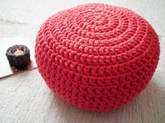 Coral Crochet Pouf  Crochet Floor Cushions  Ottoman by LoopingHome