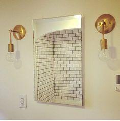 Gold & Brass Industrial modern minimalist mid century wall hanging plug in sconce light. Bathroom, bedroom lamp lighting.