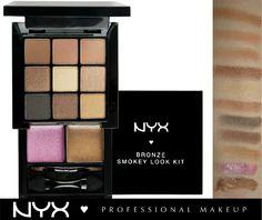 Όσο ανοίγει ο καιρός, τόσο θέλουμε να φοράμε bronze χρώματα! Με την παλέτα NYX Bronze Smokey Look Kit(S109B) μπορούμε να πετύχουμε απο ένα καθημερινό nude μακιγιάζ, μέχρι ένα sexy και σαγηνευτικό smokey eye! Περιέχει 9 γήινες αποχρώσεις σε ματ, σατινέ και shimmer υφές που δένουν απίστευτα μεταξύ τους και 2 lip gloss για να ολοκληρώσουμε το look!