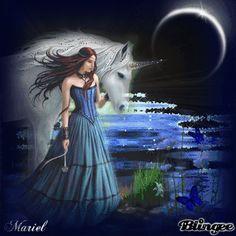 Mermaid Discovery, Unicorn And Fairies, Gifs, Blue Magic, Moon Magic, Beautiful Gif, Girl Cartoon, Good Night, Color Splash