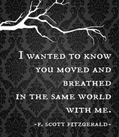F. Scott Fitzgerald quote. Wonderful author of 'The Lees of Happiness' + 'The Diamond as Big as The Ritz' and others.