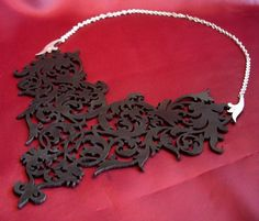 Rococo Black Leather Lace and Silver Statement Bib Necklace / Choker - Ornate Floral Scrolls. $99.00, via Etsy.
