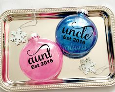A personal favorite from my Etsy shop https://www.etsy.com/listing/257966467/pregnanacy-ornament-aunt-annoucement