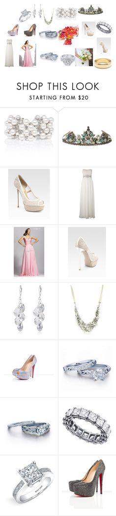 """Dream Wedding"" by breezygurl88 ❤ liked on Polyvore featuring TIARA, Valentino, Theia, Nina, Christian Louboutin, Zales, Bony Levy and Tiffany & Co."