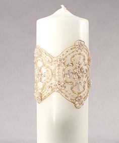 "DIY a candle like this?-""The Luxe"" Unity Candle elaborate beading and details, it has the allure of vintage inspired lace."