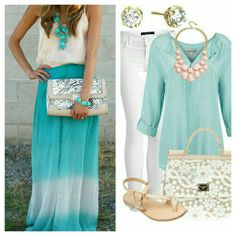 Mint outfits #mint #top #longskirt