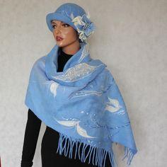 Blue scarf nuno felt Blue scarf  Nunofelt scarf Silk chiffon and wool merino Cornflowerblue Elegant shawl Romantic style