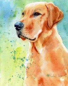 Yellow Labrador Lab Art Original painting dog Pet by rachelsstudio