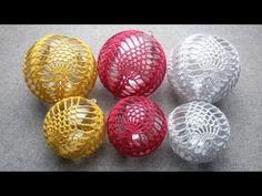 Crochet Christmas Ornaments, Ball Ornaments, Christmas Baubles, Christmas Crafts, Christmas Decorations, Cross Stitch Patterns, Crochet Patterns, Crochet Ball, Ornaments Design